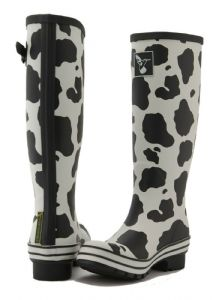 Evercreatures Womens Tall Wellington Boots - Cow Print